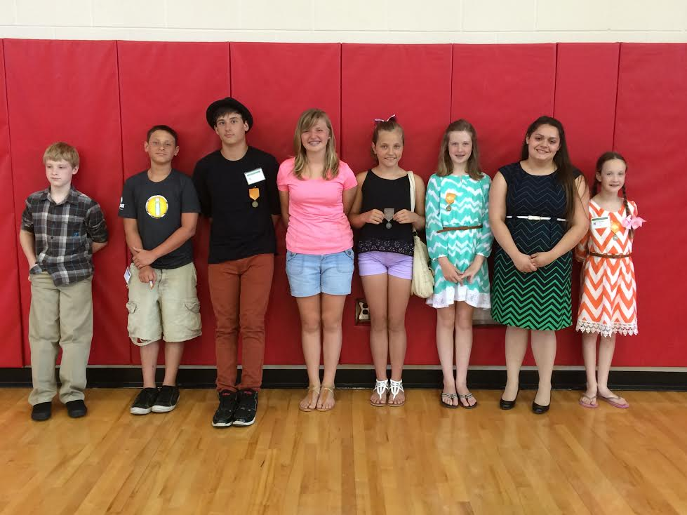 Photo: Participants from left to right include:  Ayden Berry, Noah Crawford, Zechariah Crawford, Alexis Berg, Abbigail Owens, Ashton Lowe, Jamie Gillespie and Cayden Lowe