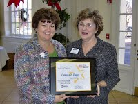 "Donna Fulp, Administrative Secretary from Rockingham County, is presented the inaugural Federation ""Leadership & Service Recognition"" Award by Christine Barrier, 2008 Federation President"