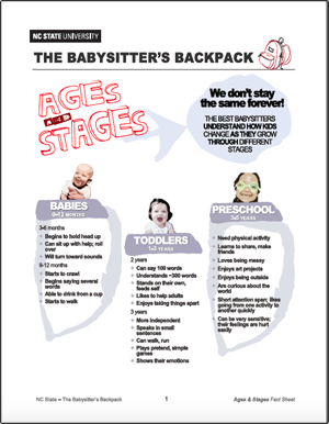 The Babysitter's Backpack: Ages and Stages