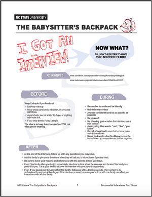 The Babysitter's Backpack: Got an Interview!
