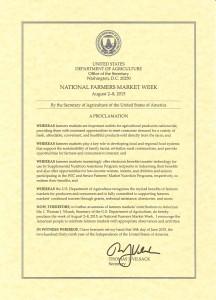 National Farmers Market Week Proclamation Image