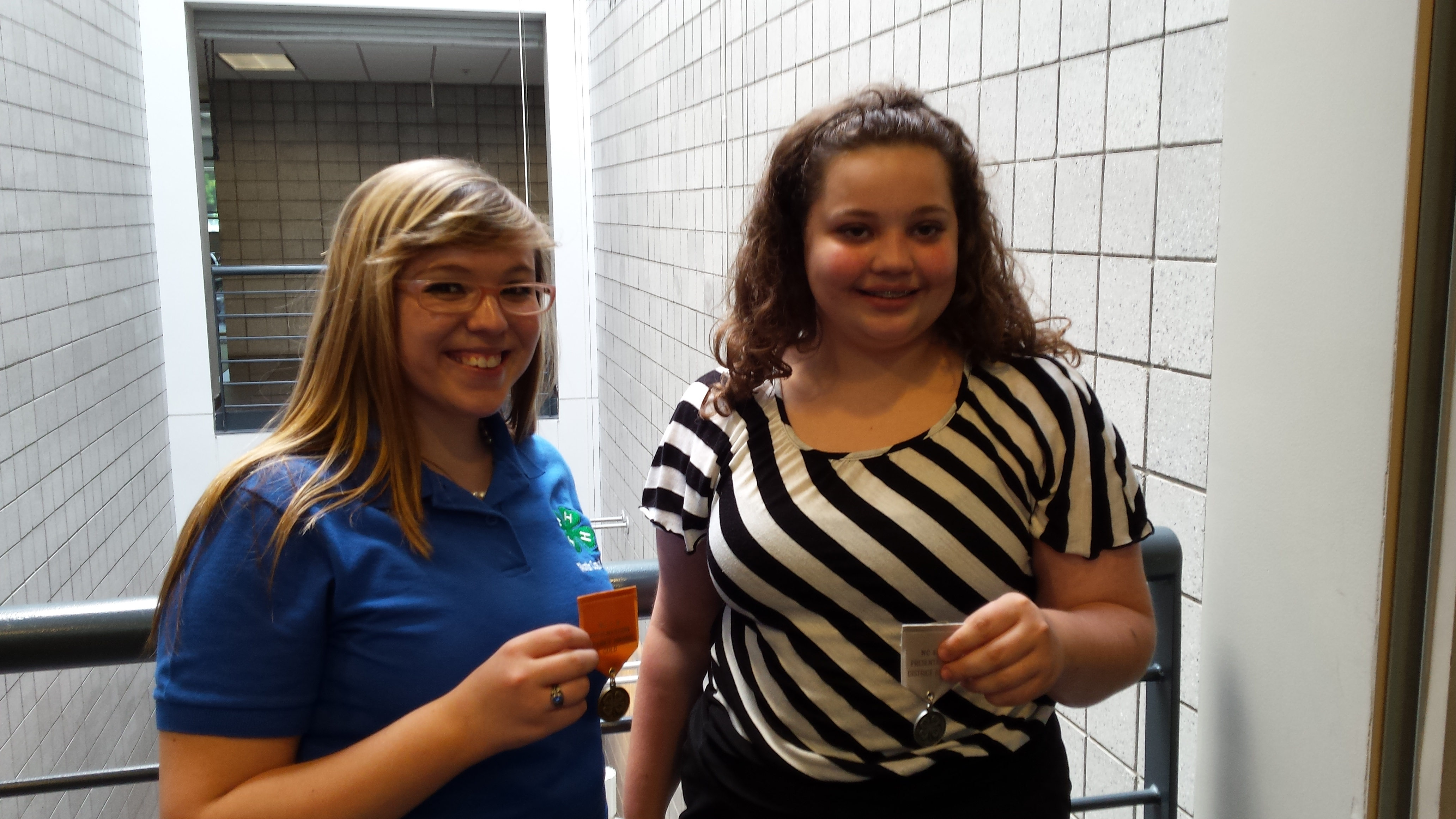 Sarah Thomas (left) and Katelyn Batchelor (right) win Gold and Silver, respectively, at the 4-H North Central District Activity Day in Greensboro.