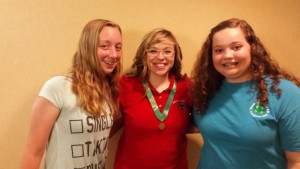 """Chatham County 4-H Congress Delegates at State 4-H Presentation Finals. Pictured left to right:  Molly Carlson, Sarah Thomas, and Katelyn Batchelor. Sarah Thomas won Gold for her presentation """"Judging to the Top"""" in the Livestock and Dairy category."""