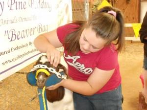 Abby Hamilton teaching at animal science clinic.