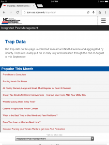 Trap data page on mobile device setting