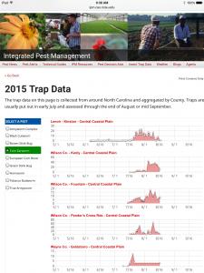 2015 Trap Data page displayed as desktop version