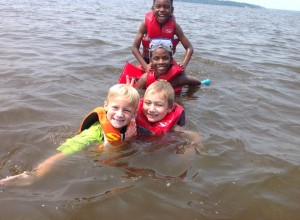 4-H Critter Campers enjoying river day at 4-H Critter Camp