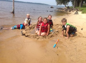 Youth enjoying the swim beach at Goose Creek State Park