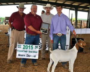 Jordan Carroll of Richmond County had the Reserve Champion Wether. Pictured from left: Donnie Ricardson and Ricky Dewitt, Richmond County Farm Bureau Board of Directors, Ted Clayton, Show Judge and Jordan Carroll.
