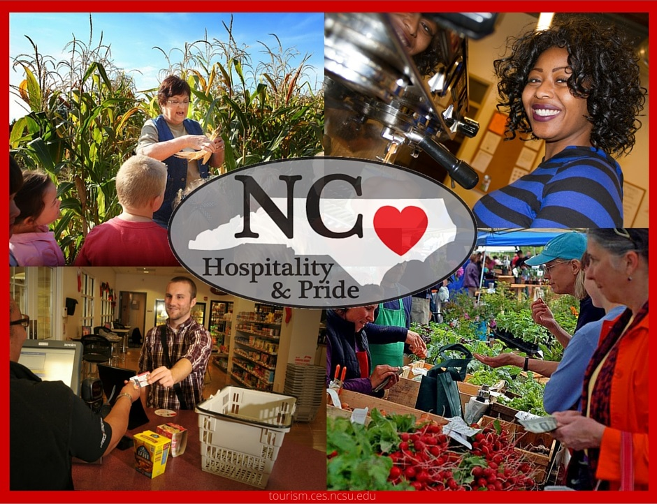 NC Hospitality and Pride poster collage of four tourism images
