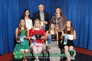 Horse Judging Team Champions, L to R: Anna Ahlers, Michaela Vick, Jessica Smith Hannah Sather. Back row: Alaina Cross, Bill Crouse, Lori Stroud