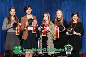 Reserve Champion Hippology Team. L to R: Sarah Morgan, Chloe Pacyna, Ruth Huggins, Scout Biggs, Beth Morgan