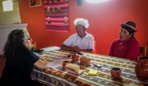 Barbieri interviewing community members (Hatunq'olla, Puno)