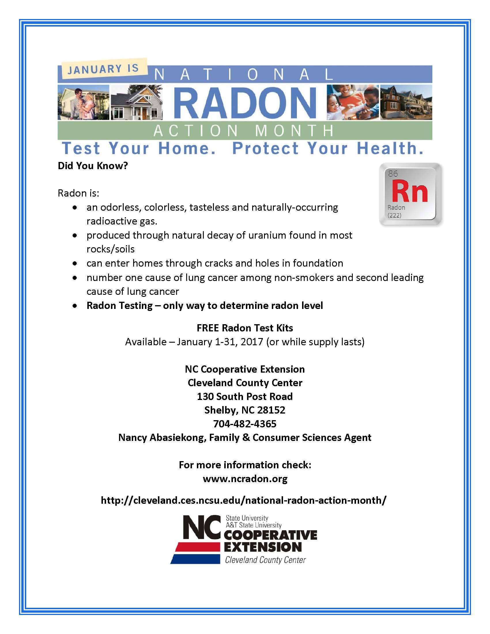 Radon Testing Poster 2017