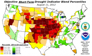 Drought maps during August for 2012, 2013, 2014, and 2015.