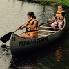 4-H campers canoeing