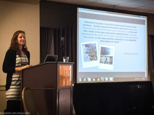 "Allie McCreary presented how social media data can be ""mined"" to understand more about tourists in coastal areas and to explore which resources and amenities are most meaningful to coastal tourists."