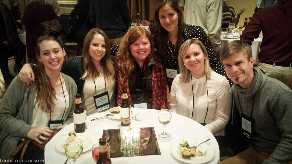 """Team Erin"" convenes at the Social Coast Forum (from L-R) Malorey Henderson, Karly Meszaros, Erin Seekamp, Allie McCreary, Sandra Fatoric, and Matthew Jurjonas represented NC State's College of Natural Resources, Parks Recreation & Tourism Department with well-received presentations on relevant and innovative coastal management research."