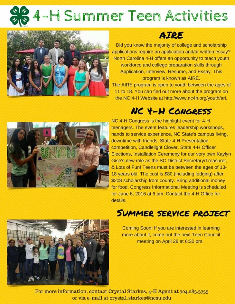 4-H Summer Teen Activities