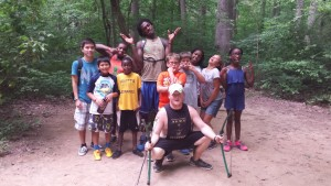 Campers enjoy the company of good friends after mastering the archery range (July 2015).