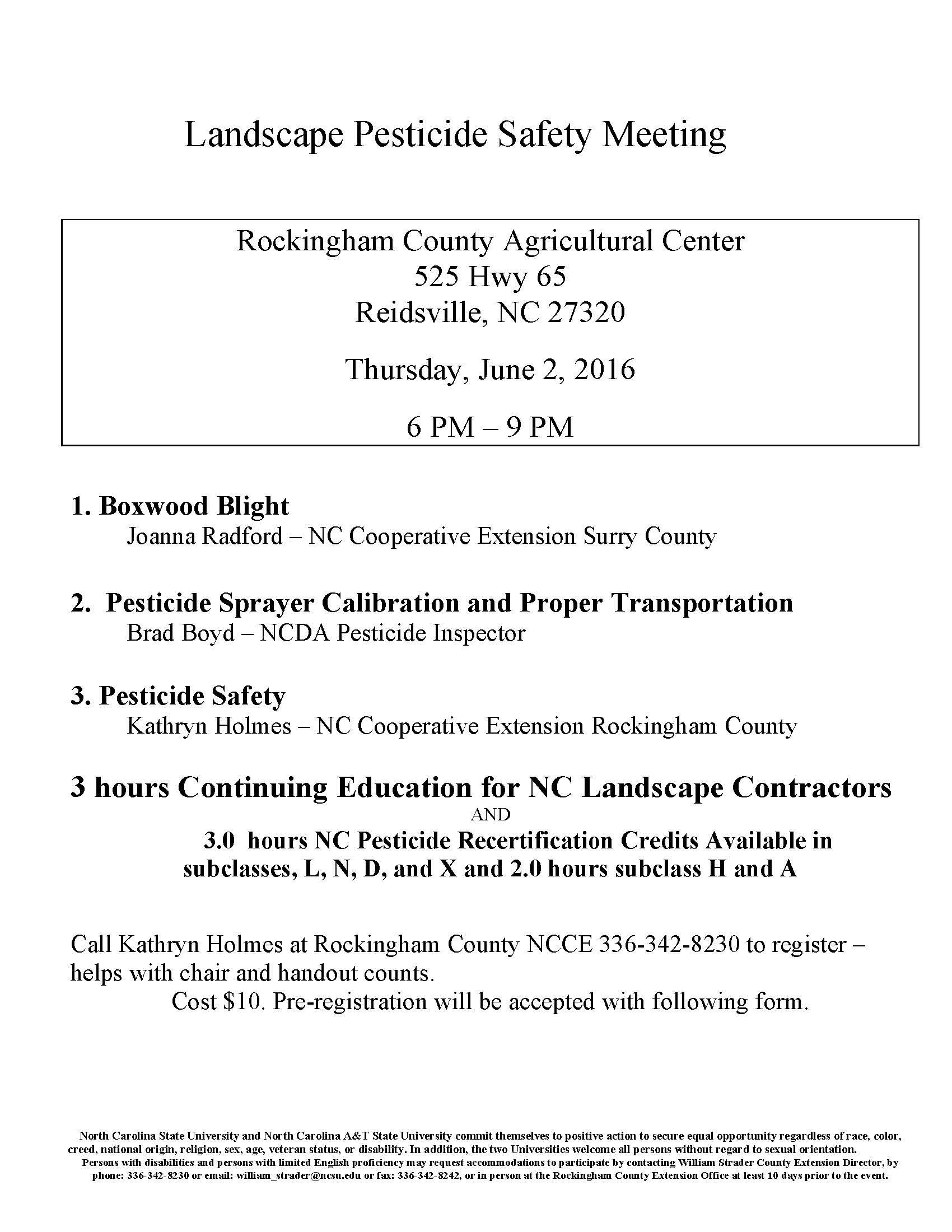 Landscape Pesticide Safety Meeting North Carolina Cooperative  2016JuneGIMeeting Page 1 Landscape Pesticide Safety Meeting County Extension