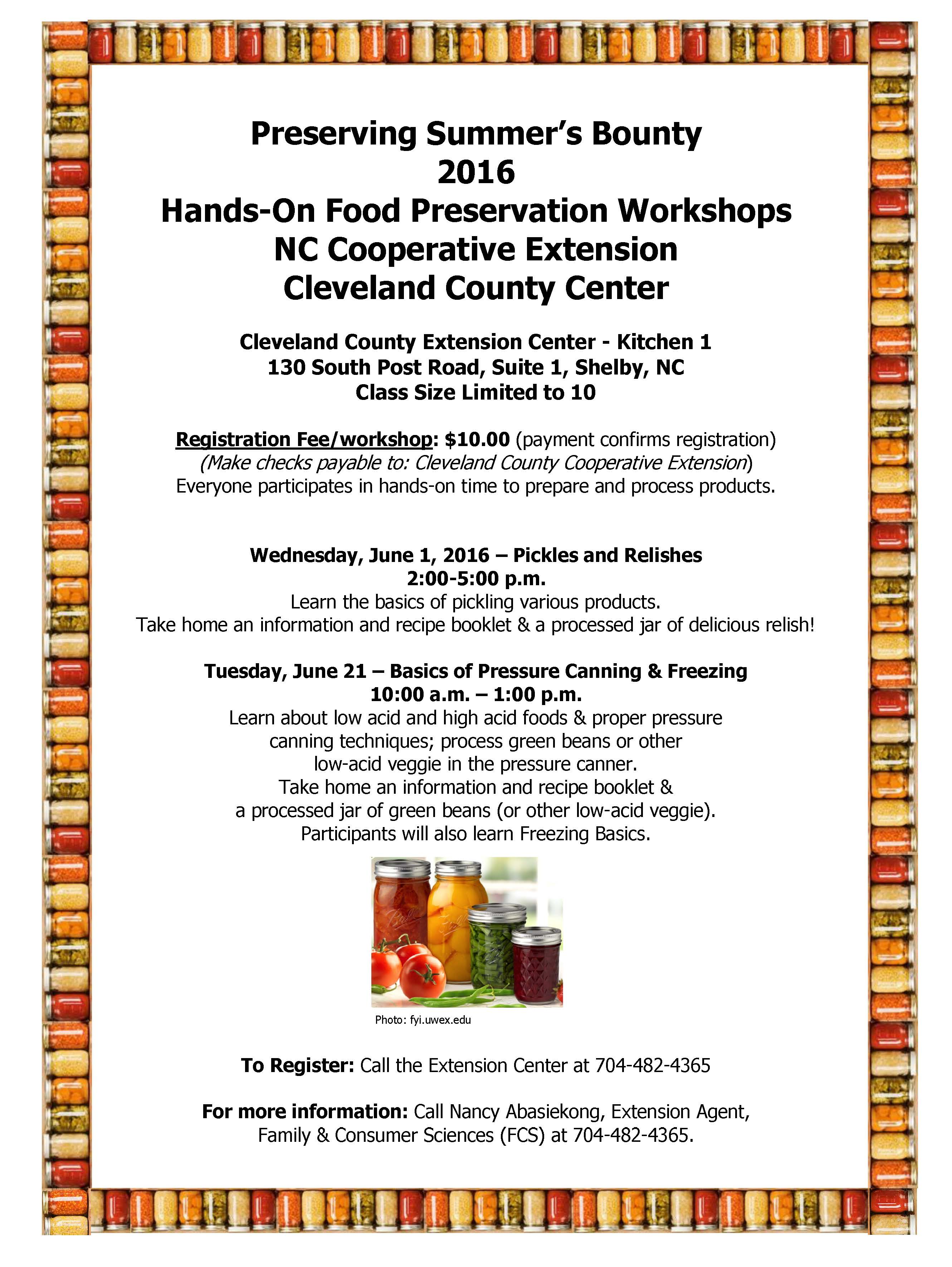Food preservation classes offered north carolina cooperative extension food preservation flyer 2016 8x11 forumfinder Choice Image