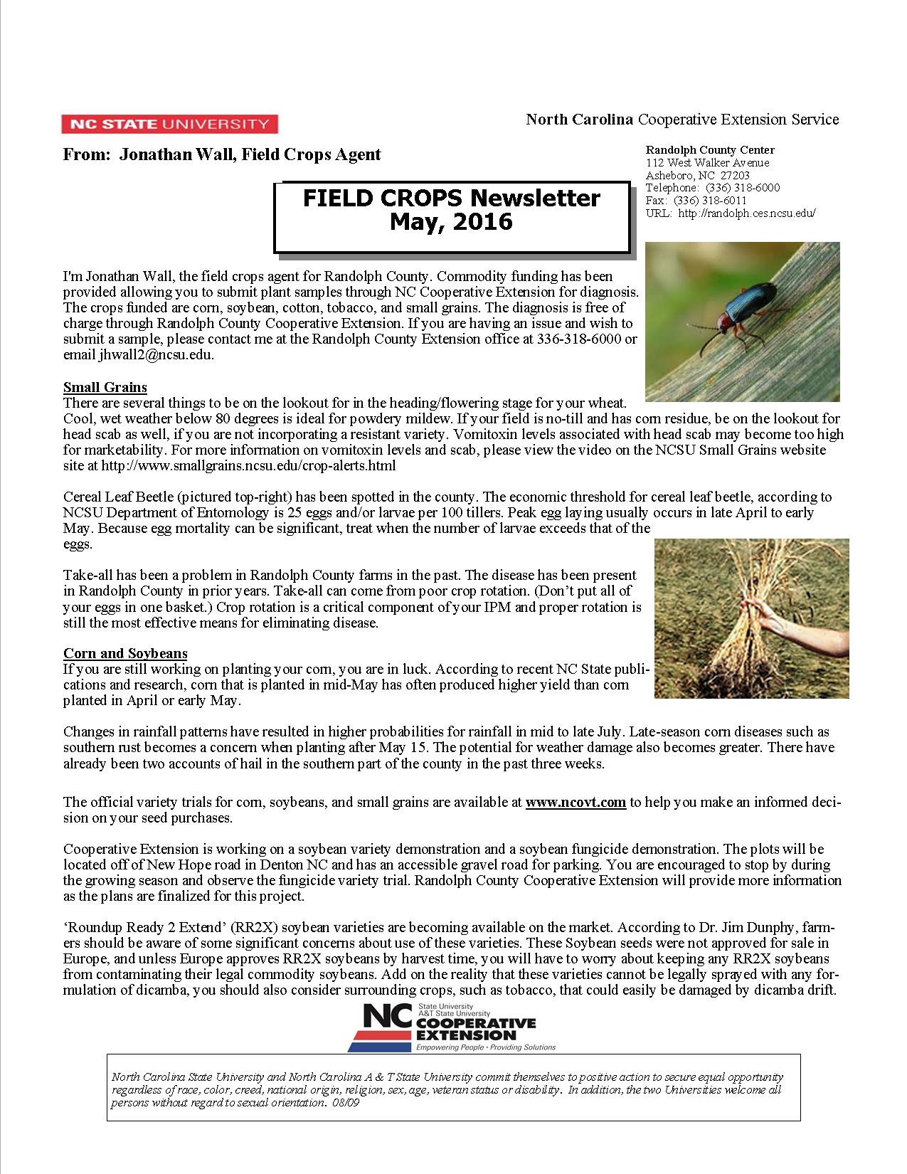 JPG page 1 Field Crops Newsletter May 24, 2016