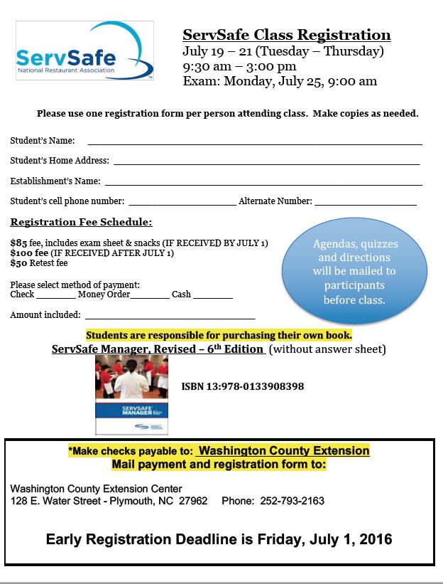 ServSafe Registration is Due by July 1
