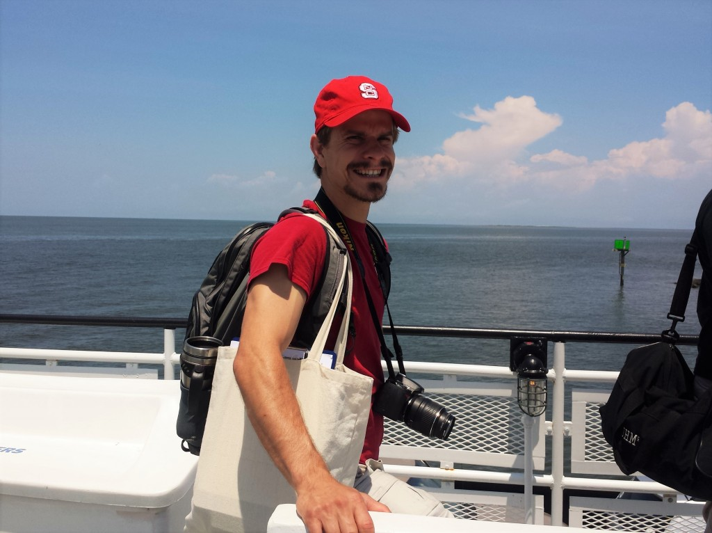 Matt Jurjonas ready to intercept tourists on the Swan Quarter-Ocracoke Ferry (photo credit: Kalry Bitsura-Meszaros)