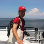 Matt Jurjonas ready to intercept tourists on the Swan Quarter-Ocracoke Ferry (photo credit: Kalry Bitsura-Meszaros)