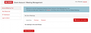 EIT's Zoom Account / Meeting Management Tool
