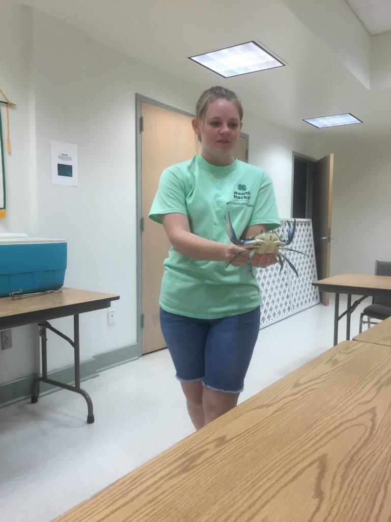 Jillian ABowling teaching about Blue Crabs