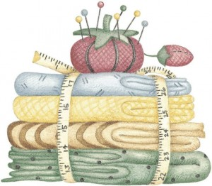 A stack of quilting fabric with a pin cushion on top.