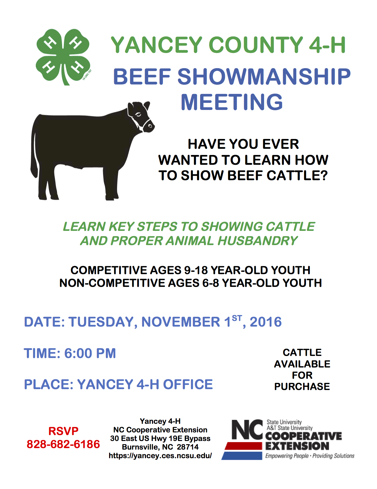 4-H Cattle Club Flyer