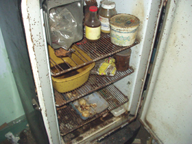 Food in a refrigerator that had lost power