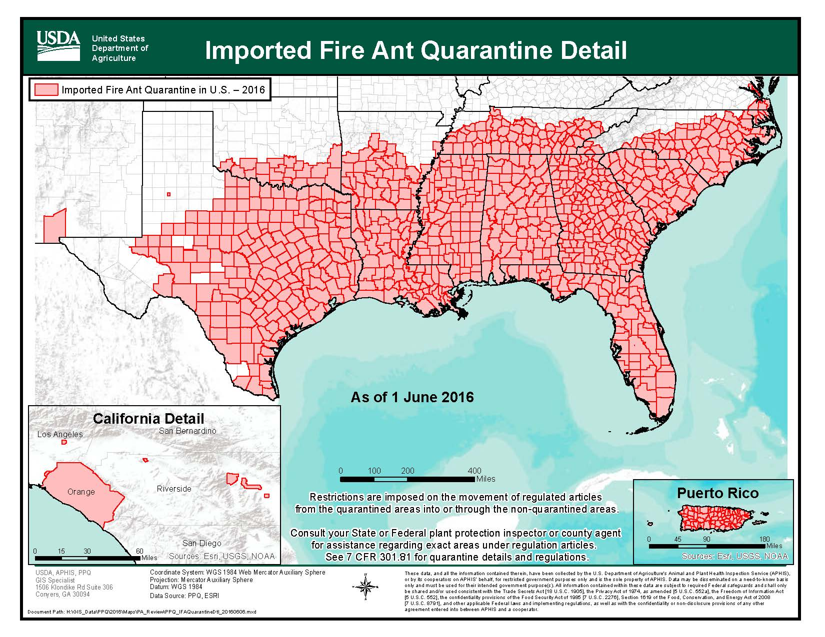 Red Imported Fire Ant Quarantine Map Red Imported Fire Ant Map U S 2016