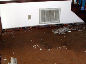 Water-logged subfloor following flooding