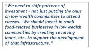 LFRM report quote starts with - We need to shift patterns of investment - not just putting the onus on low wealth communities to attend classes.