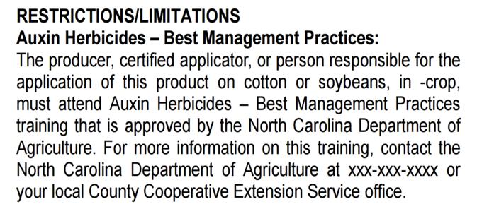 Restrictions/Limitations - auxin herbicide bops