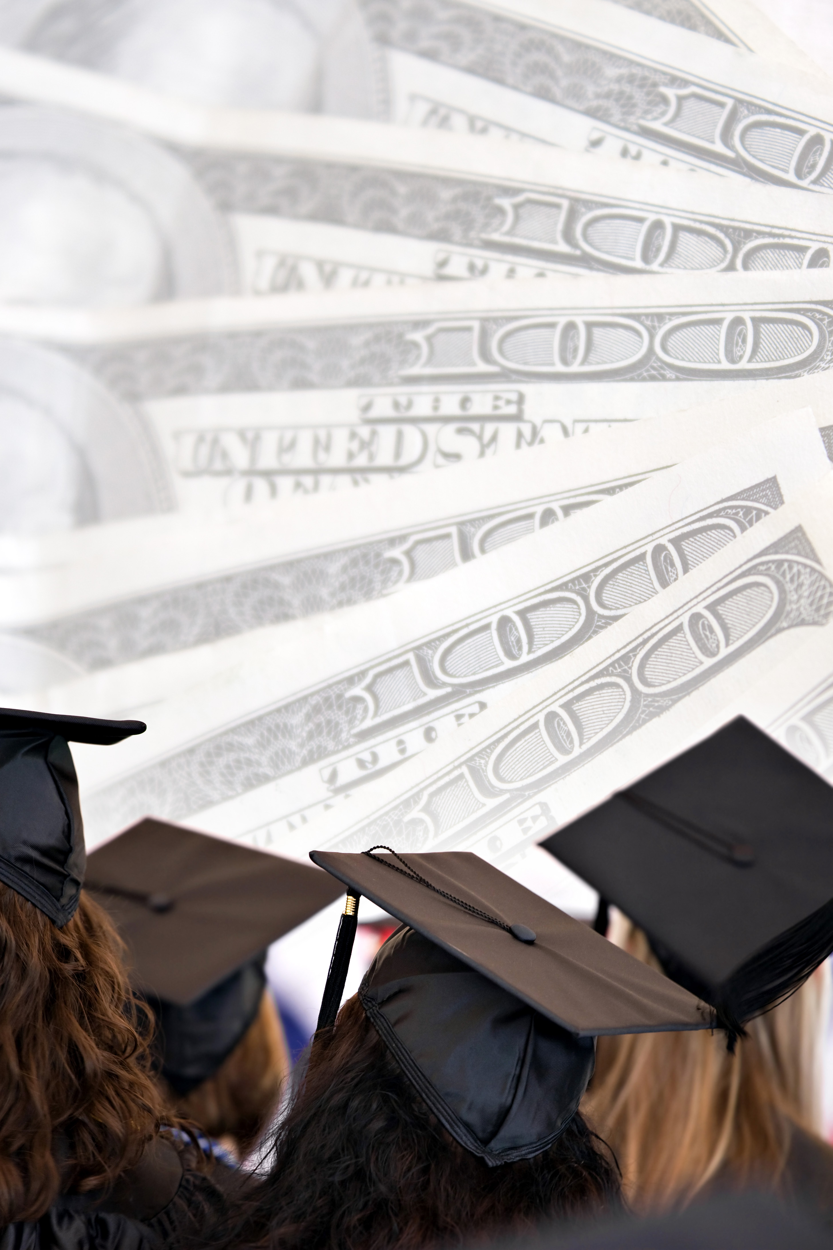 graduates with a background of $100 bills