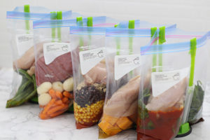 Freezer bags filed with food Crockpot Freezer Meals