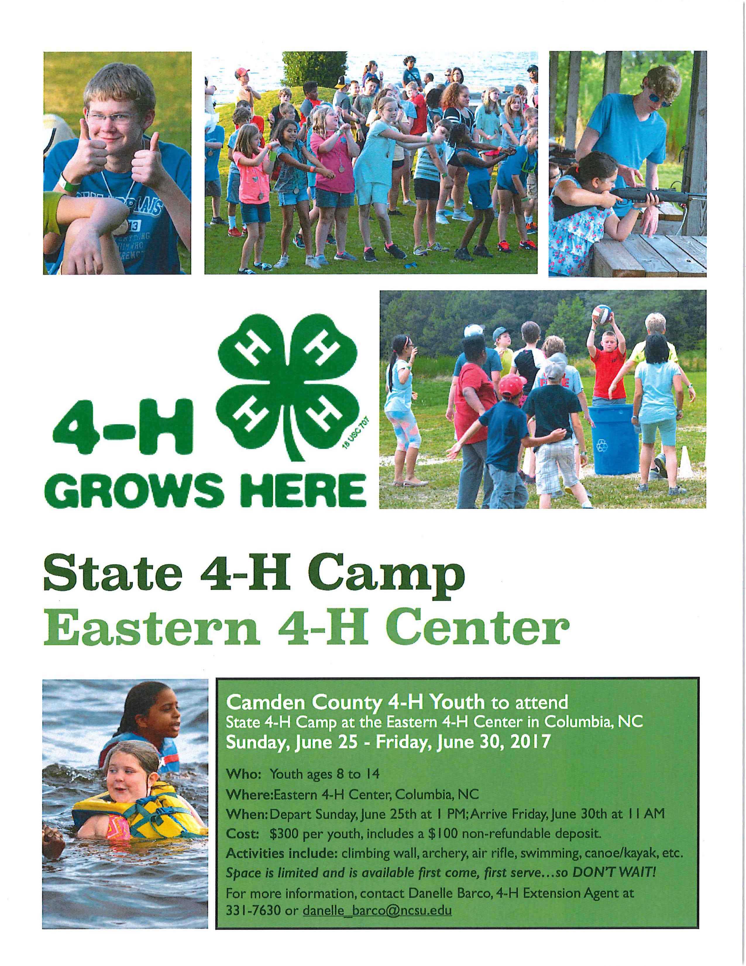 State 4-H Camp Eastern 4-H Center flier