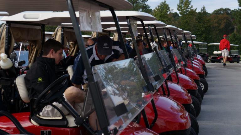 several golf carts
