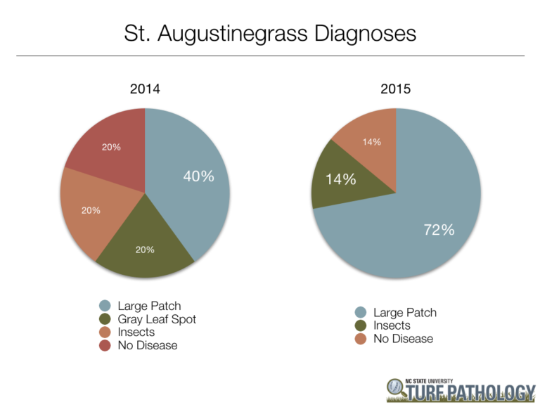 two pie charts showing 2014 and 2015 bar chart showing 2015 St. Augustinegrass diagnoses