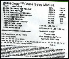 portion of grassology label