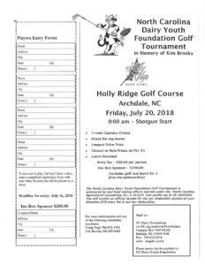 Cover photo for 22nd Annual NC Dairy Youth Foundation Golf Tournament