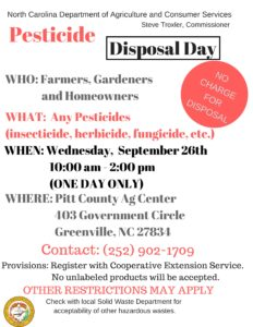 Cover photo for Pesticide Disposal Day - 9/26/2018 - New Date