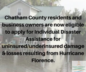 Cover photo for Chatham County Residents and Business Owners Now Eligible to Apply for Individual Disaster Assistance