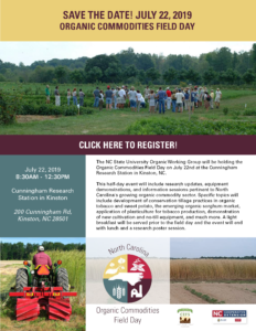 Cover photo for Time to Register for the 2019 Organic Commodities Field Day!