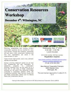 Cover photo for Conservation Resources Workshop - Register Before Dec. 2